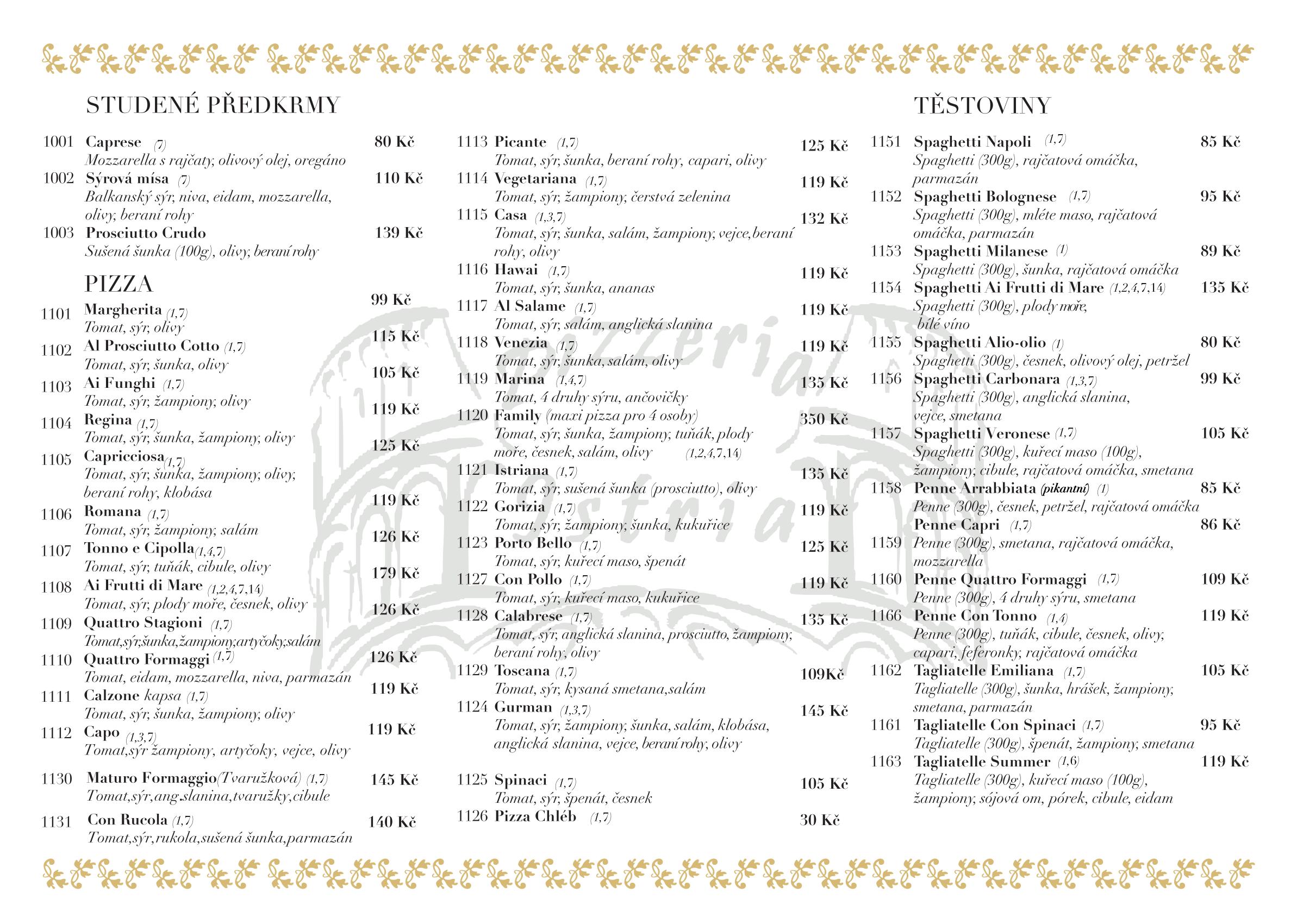 Jídelní lístek pizzeria Istria strana 1