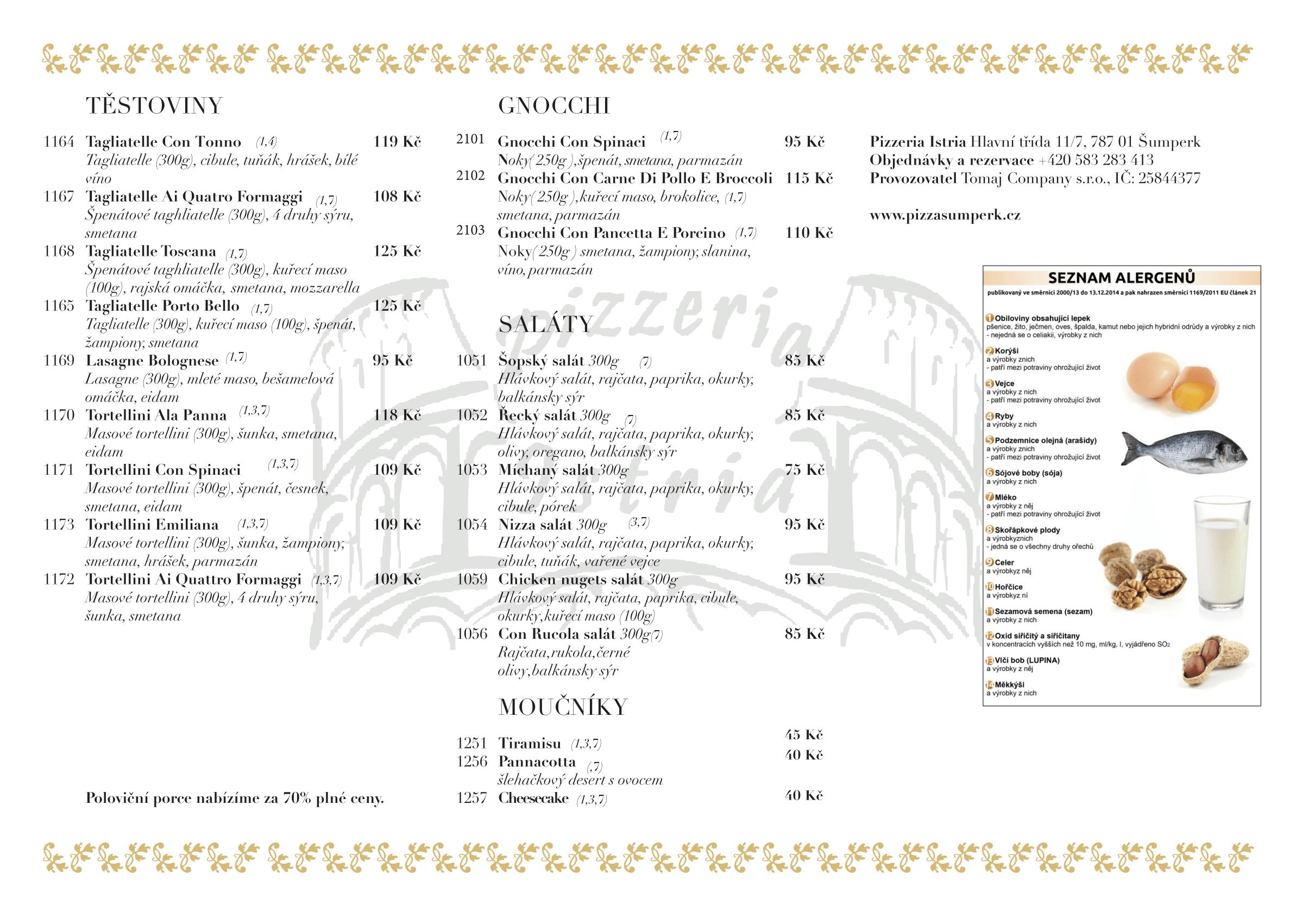 Jídelní lístek pizzeria Istria strana 2
