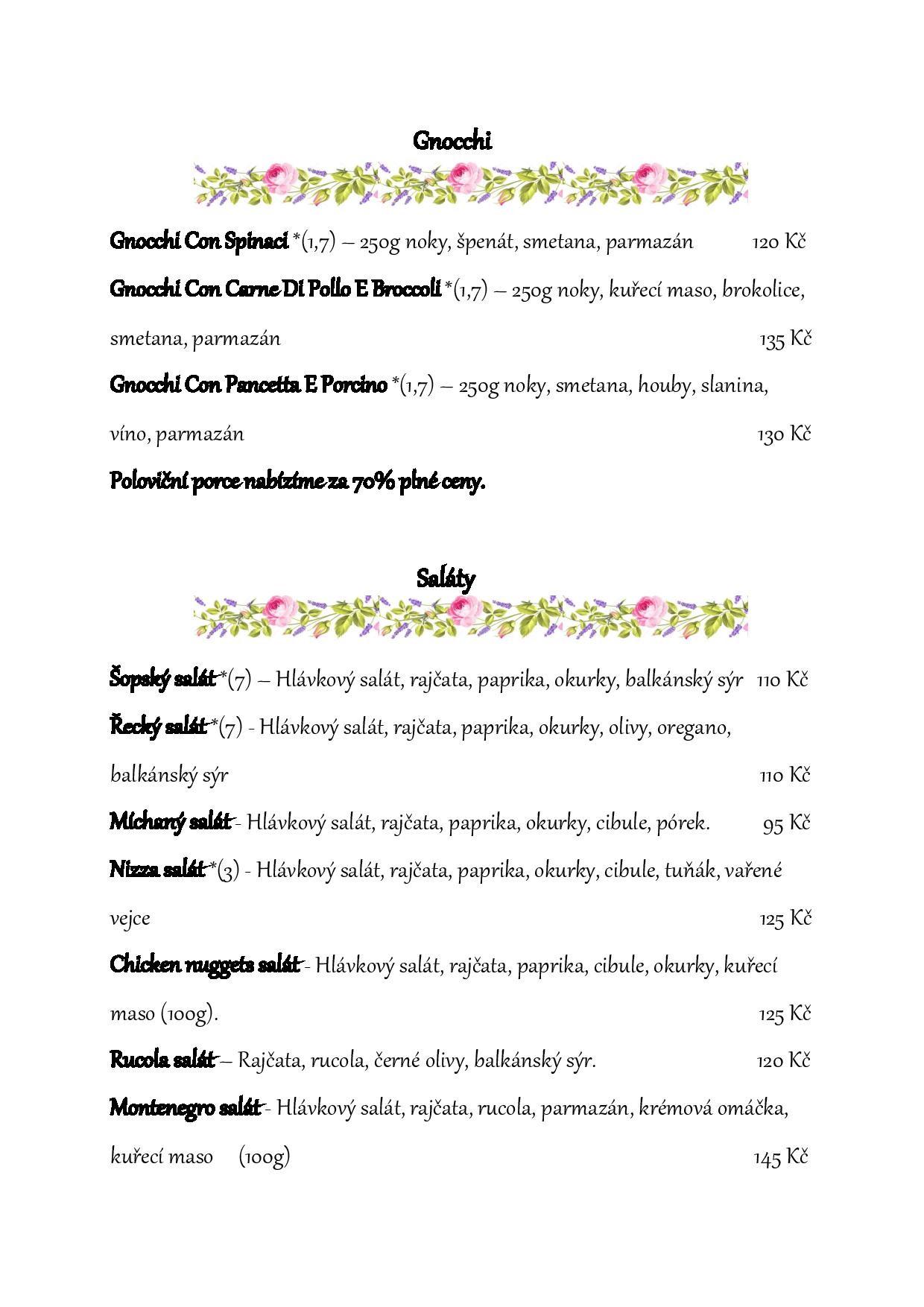 Jídelní lístek pizzeria Istria strana 3